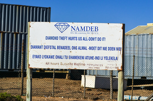 NAMDEB sign, do not steal diamonds