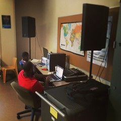 @pmusic (PC) working in his #FreedomSchool 2014 classroom at #StadiumView this afternoon.  #amplifiedlife #hiphop #literacy