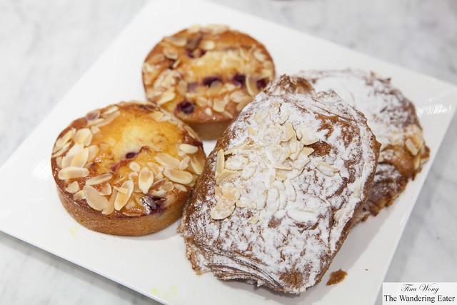 Pain au chocolat aux amandes (Chocolate Almond Croissant) & Pain de Gênes cerise