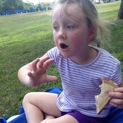Animated story-telling. With peanut butter and #fluff #sandwich. #picnic