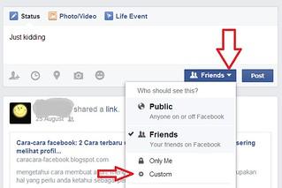 cara menyembunyikan status fb