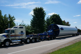 Wind turbine tower section in transit