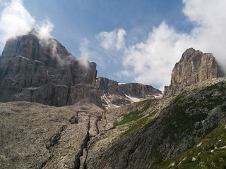 Pisciadù Klettersteig geschafft, Weg Richtung Pisciadù Hütte