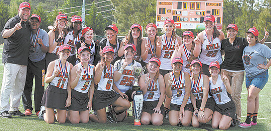 ssMembers of the Kell Girls Lacrosse team celebrating their state championship are pictured above: Front Row (l-r): Hannah Nemeck, Brenna Mackjack, Leslie Ferguson, Hannah Rosen, Tori Wall, Izzy Palermo, Jessica Armstrong, Sarah Bialecki. Back Row (l-r):