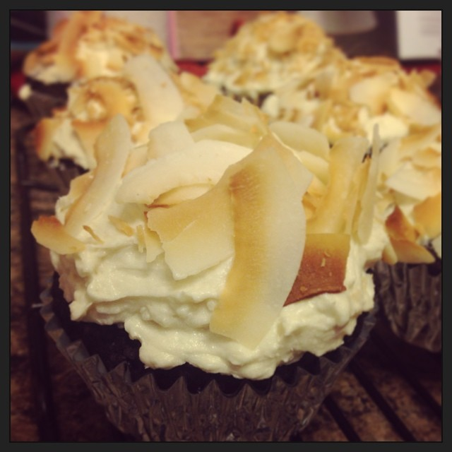 The most decadent cupcake ever. #Vegan caramel-filled chocolate cupcakes topped with salted caramel buttercream dipped in toasted coconut. Samoa Joe cupcakes, my anniversary gift (everything from scratch, with the thousands of dishes to prove my love.)