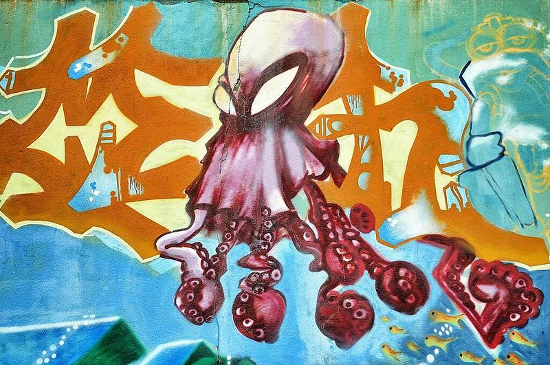 Evry Daily Photo - Fresque Marine Courcouronnes - L'Attaque de la pieuvre géante