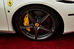 automobile(1.0), automotive exterior(1.0), wheel(1.0), vehicle(1.0), ferrari 458(1.0), automotive design(1.0), rim(1.0), bumper(1.0), land vehicle(1.0), luxury vehicle(1.0),