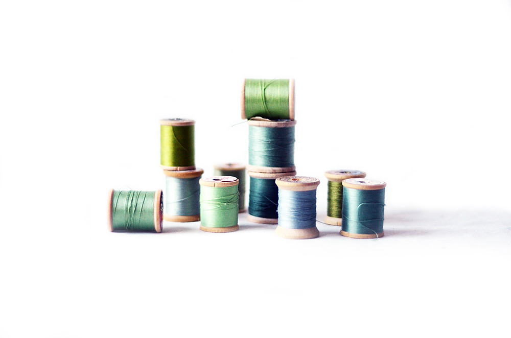 Eleven Vintage Wooden Green Thread Spools, Sea Glass Shades Collection