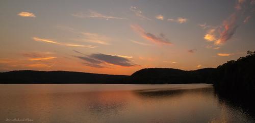 sunset summer sky panorama lake mountains water clouds canon reflections evening powershot reservoir summertime paintedsky g12 monksville monksvillereservoir smack53