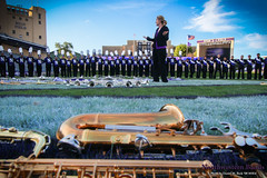 Director of Bands Dr. Mallory Thompson and the Wildcat Band ::     The Northwestern University 'Wildcat' Marching Band gathers for its post-game ritual at  Ryan Field after Wildcat Football hosted California on August 30, 2014.  Photo by Daniel M. Reck '08 MSEd.