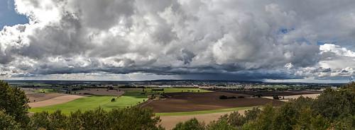 summer sky panorama storm field clouds thunder falköping ålleberg platåberg