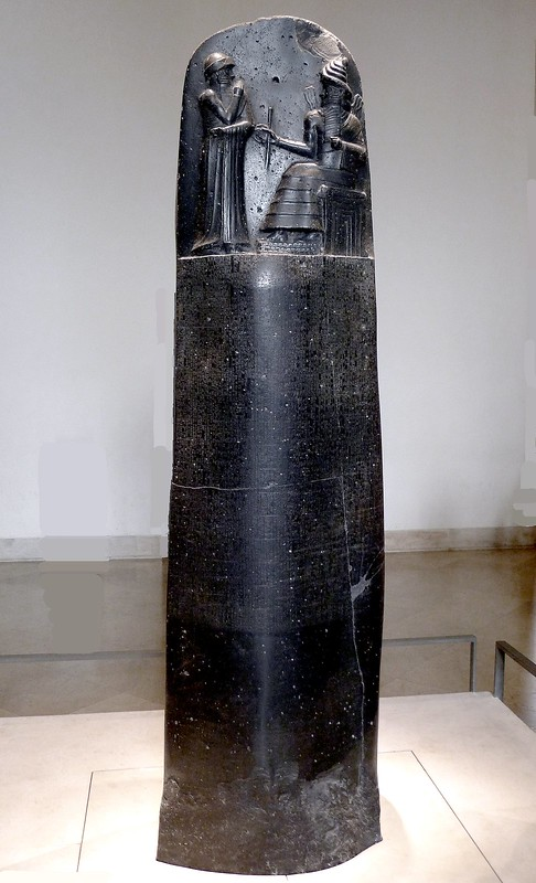 Code of Hammurabi on diorite stele at the Louvre
