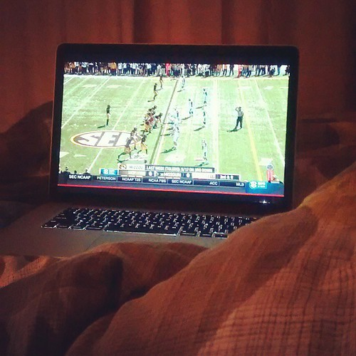 Watched the #Mizzou game in bed this morning, because we could. Oh and for the record, 2am games blow. But GO TIGERS!