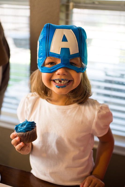 Kid at Captain America Party #HeroesEatMMs #Shop