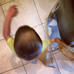 I #remember when doing the dishes didn't mean sacrificing a roll of baking paper to keep LB out of the dishwasher. On the bright side, all those laps around the kitchen table are good exercise for the lad. #fmsphotoaday #childhood #motherhood #chaos