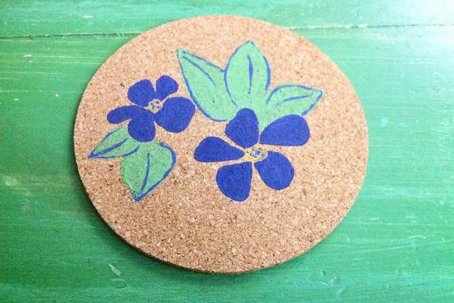 Violets Cork Coaster