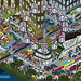 Formula 1 Singapore Grand Prix from Top Gear Where's Stig? Motorsport Madness. Isometric Pixel Art Illustration by Rod Hunt