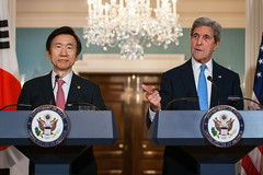U.S. Secretary of State John Kerry participates in a press availability with Republic of Korea (ROK) Minister of Foreign Affairs Yun Byung-se at the U.S. Department of State in Washington, D.C., on October 19, 2016. [State Department photo/ Public Domain]
