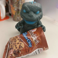 little-known fact:  kaiju love cookies #goji #omnomnom