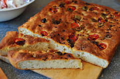 Focaccia with Olives, Garlic and Rosemary in all i…