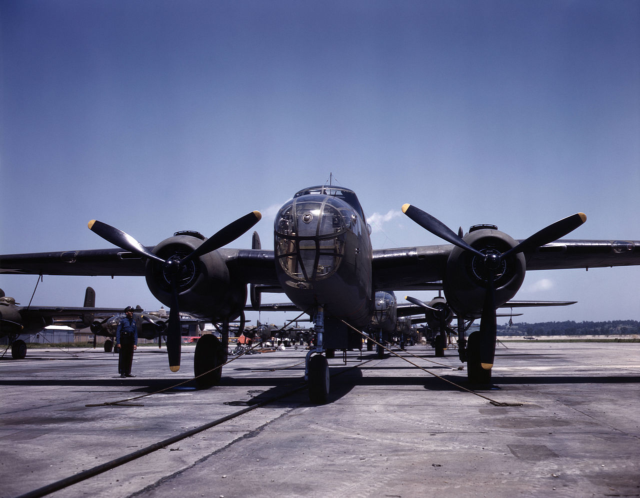 B-25 bombers on the outdoor assembly line at the North American Aviation plant in Kansas City, Kansas. Almost ready for their first test flight.
