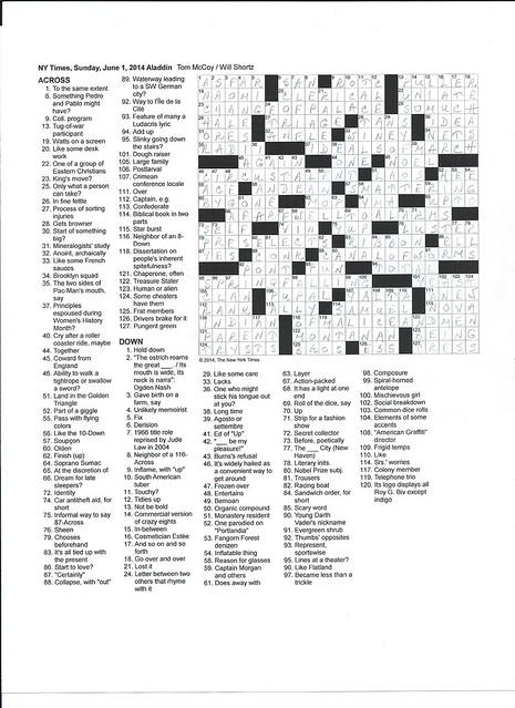 NYT Sunday Puzzle - June 1, 2014