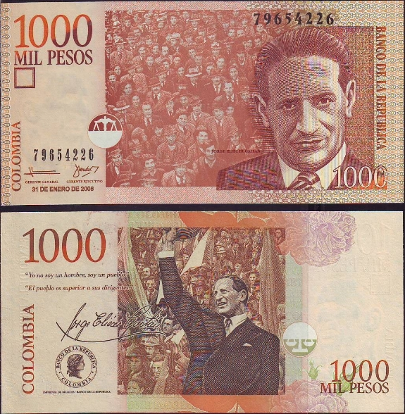 1000 Pesos Kolumbia 2001-2005, Pick 450