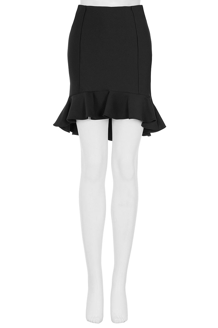 Black Ruffle Hem Skirt