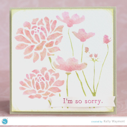 Stenciled flower card by Kelly Wayment for Silhouette