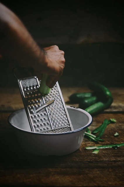 grating cucumber for mint raita