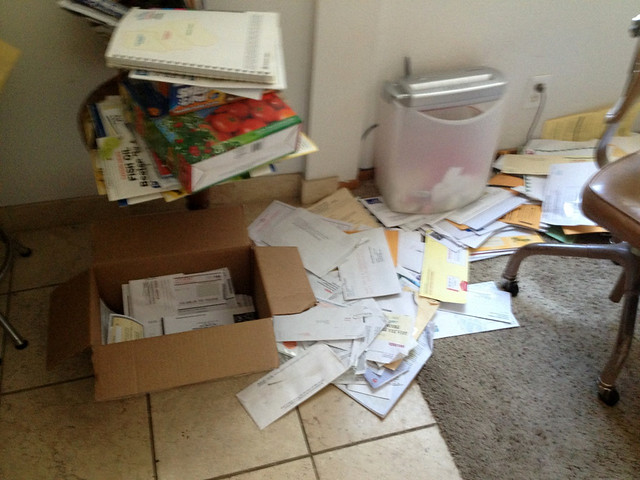 Office covered in junk mail