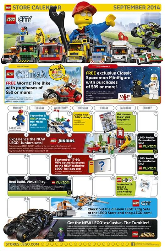 LEGO Shop September 2014 Calendar