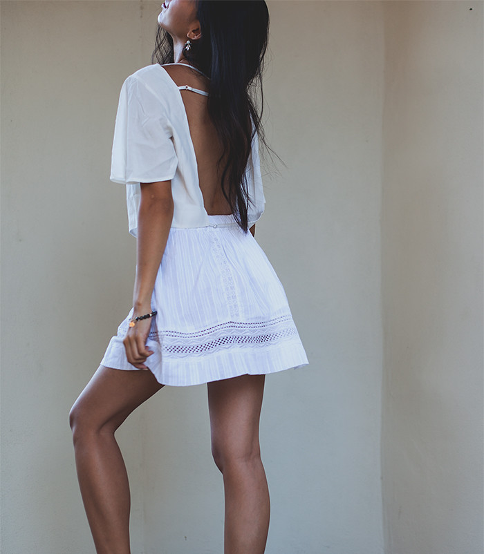 Stephanie Liu of Honey & Silk wearing d.Ra and For Love & Lemons