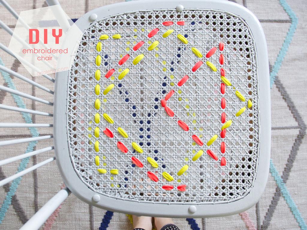 sedia decorata a ricamo fai da te tema geometrico