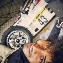 a pic of 02/06/2014 after race with my darling 43  lol..... valoobashte bashte valobasha ultaya porttese... khilz... #human #love #machine #car #and #me #43 #racer #tushar #wheel #romantic #mood #kiss #hug #smile #crazy #youngman  #bangladeshi