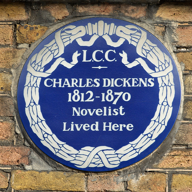 Charles Dickens blue plaque - Charles Dickens 1812-1870 novelist lived here