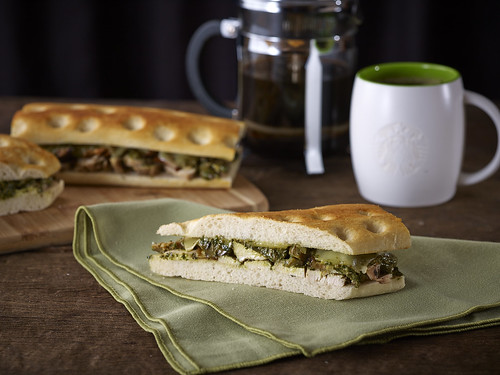 ROASTED CHICKEN PESTO ON CIABATTA BREAD
