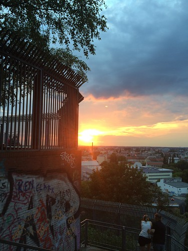 Berlin Park Volkspark Humboldthain sunset over the city graffiti