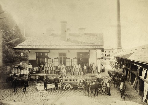 Factory in Vevey, milk arriving at the dairy around 1890