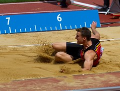 sprint(0.0), high jump(0.0), physical exercise(0.0), athletics(1.0), track and field athletics(1.0), sport venue(1.0), triple jump(1.0), sports(1.0), long jump(1.0), athlete(1.0),