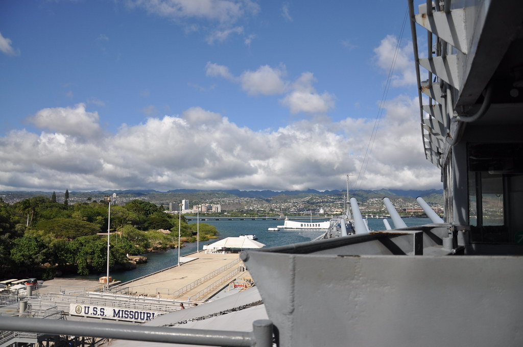 USS Missouri view of Pearl Harbor and USS Arizona memorial