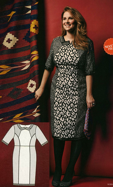 Burda-Sept-2014 Plus Pattern Blocked Dress