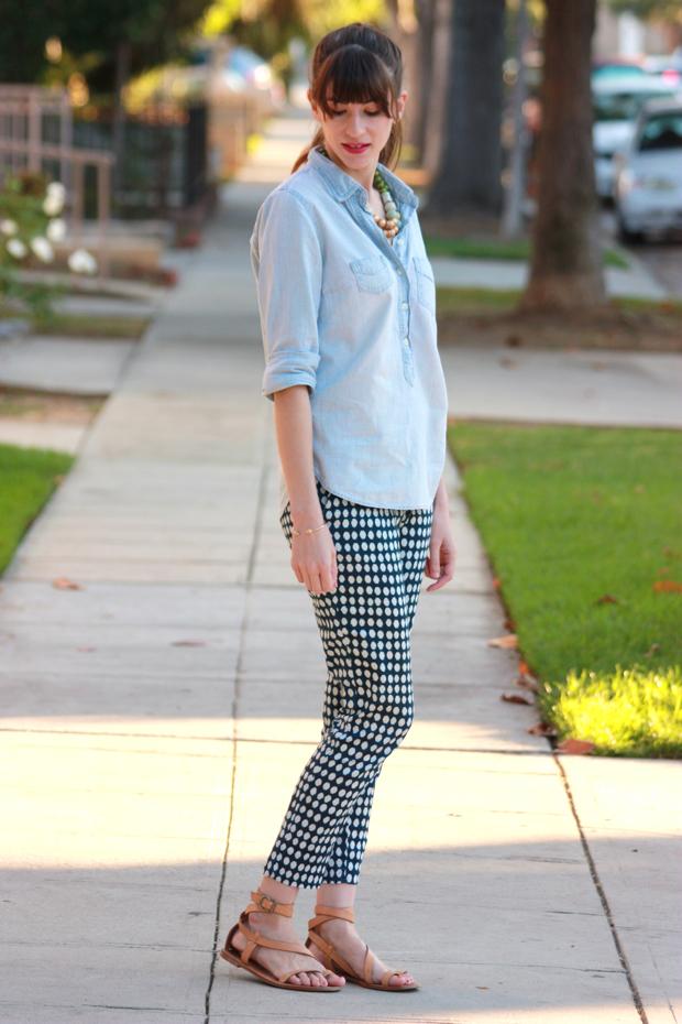 Chambray Shirt, Polka Dot pants