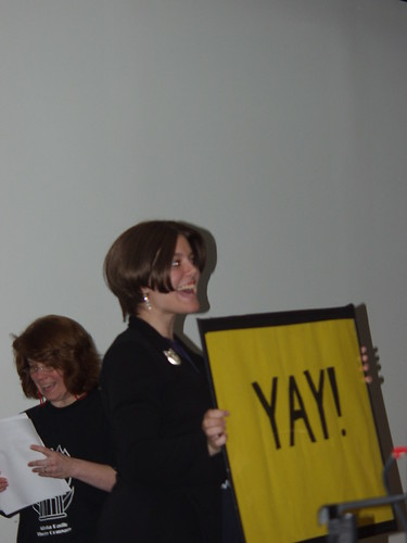 Megan Tindale holds up the 'Yay!' sign for Rory Rammer, Space Marshal.