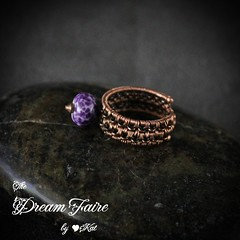 Chained Violet Copper Wire Woven Ring