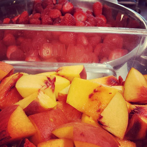 Getting ready for the weekend #sweet #pie #dessert #peaches #fresh #fruit #strawberry #petalumapie