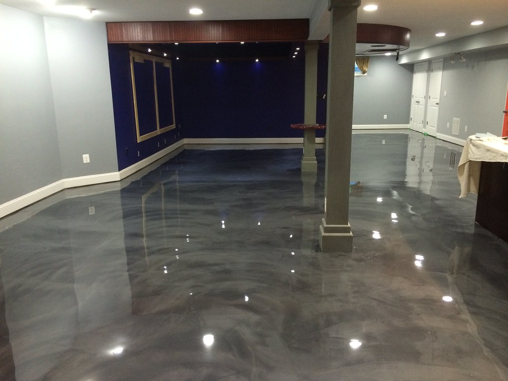 epoxy flooring basement. Designer Epoxy Basement Floor In Manassas, VA. #reflector #metallic #epoxy # Flooring E