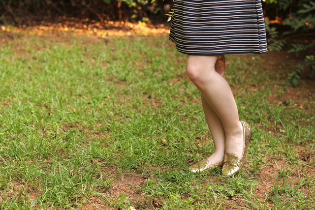 Striped Dress and Sparkly Gold Loafers