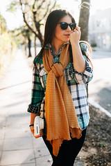 pattern(1.0), textile(1.0), brown(1.0), clothing(1.0), collar(1.0), outerwear(1.0), fashion(1.0), photo shoot(1.0), design(1.0), tartan(1.0), plaid(1.0),