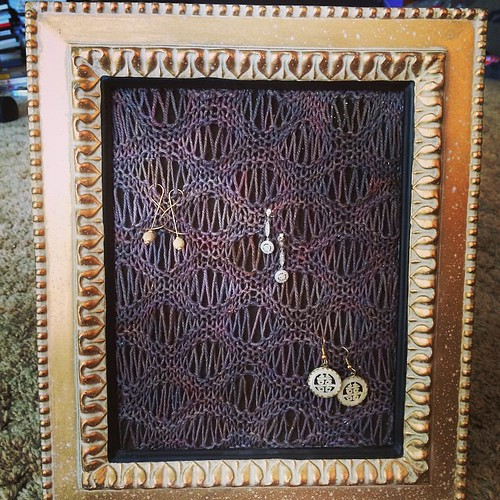 Latest #DIY #knit #project done. A #knitted #jewelry #frame #display.